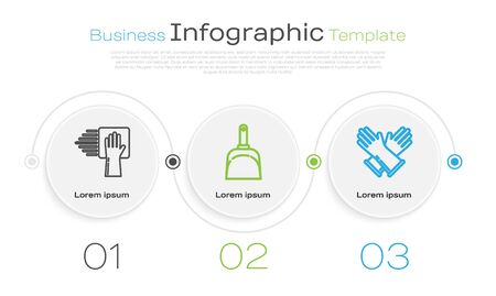 Set line Cleaning service , Dustpan and Rubber gloves . Business infographic template. Vector