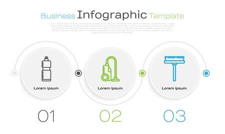 Set line Plastikflaschen für flüssiges Geschirrspülmittel, Staubsauger und Rakel, Schaber, Wischer. Business-Infografik-Vorlage. Vektor