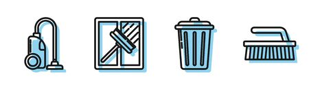 Set line Trash can , Vacuum cleaner , Squeegee, scraper, wiper and Brush for cleaning icon. Vector