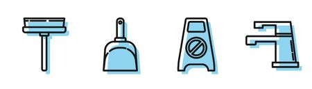 Set line Wet floor and cleaning in progress , Squeegee, scraper, wiper, Dustpan and Water tap icon. Vector Illustration