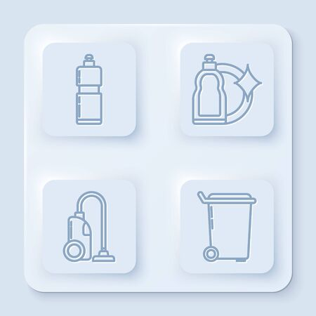 Set line Plastic bottles for liquid dishwashing liquid, Plastic bottles for liquid dishwashing liquid, Vacuum cleaner and Trash can . White square button. Vector Illustration