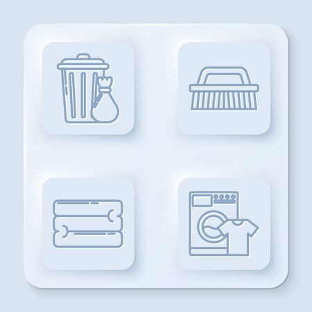 Set line Trash can and garbage bag , Brush for cleaning , Towel stack and Washer and t-shirt . White square button. Vector