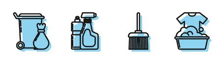 Set line Handle broom , Trash can , Plastic bottles for liquid dishwashing liquid and Plastic basin with soap suds icon. Vector Illustration