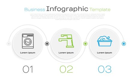 Set line Washer , Water tap and Plastic basin with soap suds . Business infographic template. Vector