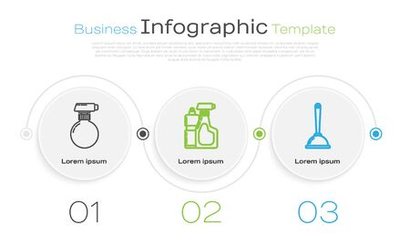 Set line Cleaning spray bottle with detergent liquid , Plastic bottles for liquid dishwashing liquid and Toilet plunger. Business infographic template. Vector