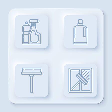 Set line Plastic bottles for liquid dishwashing liquid, Plastic bottles for liquid dishwashing liquid, Squeegee, scraper, wiper and Squeegee, scraper, wiper. White square button. Vector