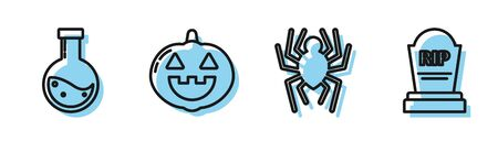 Set line Spider , Bottle with potion , Pumpkin and Tombstone with RIP icon. Vector