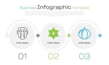 Set line Hockey mask , Spider web and Pumpkin . Business infographic template. Vector