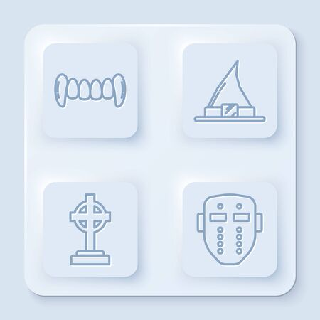 Set line Vampire teeth , Witch hat , Tombstone with cross and Hockey mask . White square button. Vector Illustration