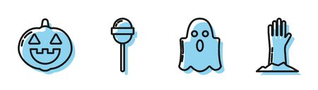 Set line Ghost , Pumpkin , Lollipop and Zombie hand icon. Vector