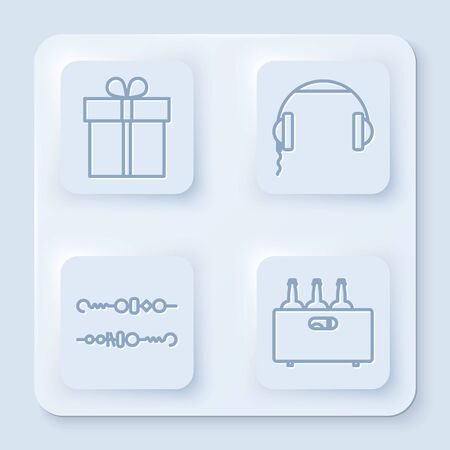 Set line Gift box , Headphones , Grilled shish kebab and Bottles of wine in a wooden box . White square button. Vector Ilustração