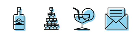 Set line Martini glass , Whiskey bottle , Wine glasses stacked in a pyramid tower and Envelope with invitation card icon. Vector Stock Illustratie