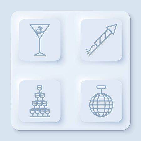 Set line Martini glass , Firework rocket , Wine glasses stacked in a pyramid tower and Disco ball . White square button. Vector Stockfoto - 137530432