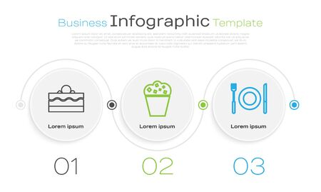 Set line Cake , Popcorn in cardboard box and Plate, fork and knife . Business infographic template. Vector