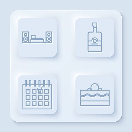 Set line Home stereo with two speakers , Whiskey bottle , Detailed calendar and Cake . White square button. Vector