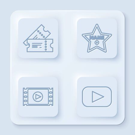 Set line Cinema ticket , Hollywood walk of fame star on celebrity boulevard , Play Video and Play . White square button. Vector Иллюстрация
