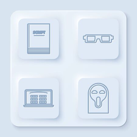 Set line Scenario , 3D cinema glasses , Buy cinema ticket online and Funny and scary ghost mask. White square button. Vector