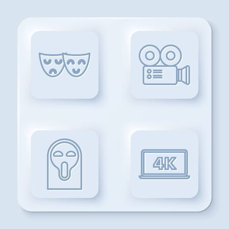 Set line Comedy and tragedy theatrical masks , Cinema camera , Funny and scary ghost mask and Laptop screen with 4k video technology . White square button. Vector
