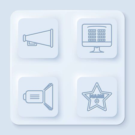 Set line Megaphone , Buy cinema ticket online , Movie spotlight and Hollywood walk of fame star on celebrity boulevard . White square button. Vector  イラスト・ベクター素材