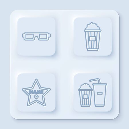 Set line 3D cinema glasses , Popcorn in cardboard box , Hollywood walk of fame star on celebrity boulevard and Popcorn and soda drink glass. White square button. Vector