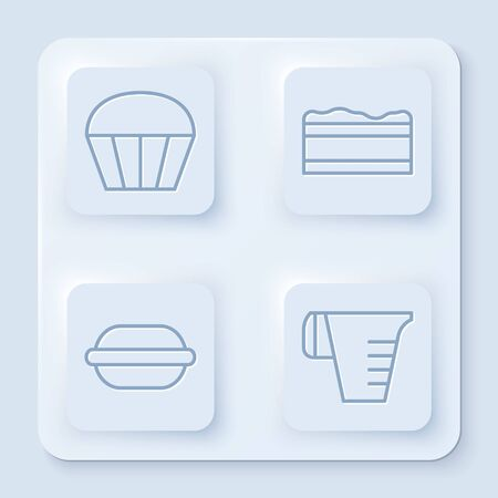 Set line Muffin , Brownie chocolate cake , Macaron cookie and Measuring cup. White square button. Vector Illustration