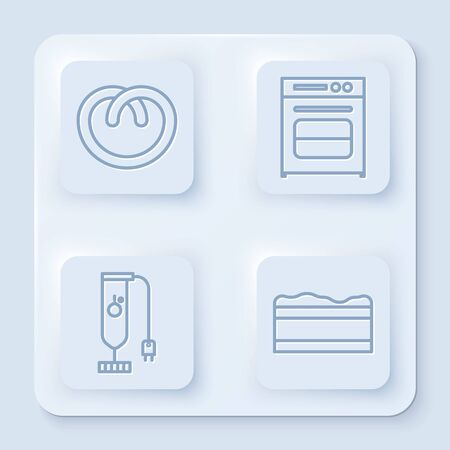 Set line Pretzel , Oven , Blender and Brownie chocolate cake . White square button. Vector Vettoriali