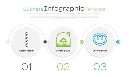 Set line French baguette bread , Brick stove and Pretzel . Business infographic template. Vector Illustration