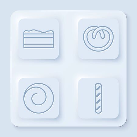 Set line Brownie chocolate cake , Pretzel , Roll bun with cinnamon and French baguette bread . White square button. Vector