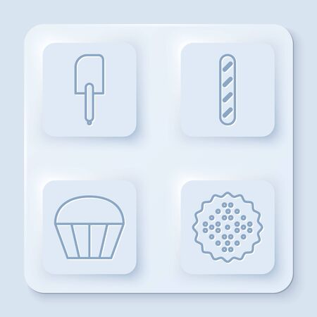 Set line Spatula , French baguette bread , Muffin and Cracker biscuit . White square button. Vector