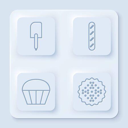 Set line Spatule , pain baguette français , biscuit Muffin et Cracker . Bouton carré blanc. Vecteur