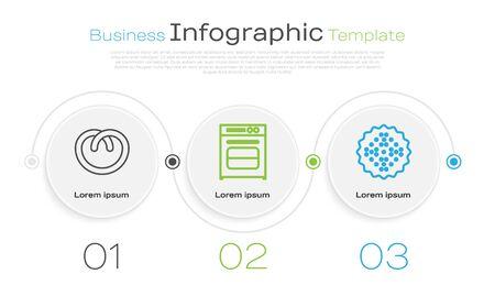 Set line Pretzel , Oven and Cracker biscuit . Business infographic template. Vector Illustration