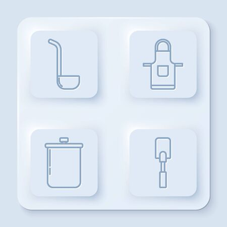Set line Kitchen ladle , Kitchen apron , Cooking pot and Spatula . White square button. Vector Ilustração