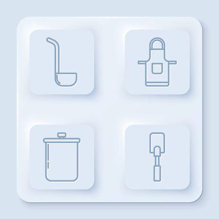 Set line Kitchen ladle , Kitchen apron , Cooking pot and Spatula . White square button. Vector Illustration