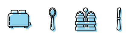 Set line Salt and pepper , Toaster with toasts , Spoon and Knife icon. Vector Vector Illustratie