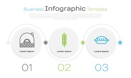 Set line Brick stove , Cereals with rice, wheat, corn, oats, rye and Homemade pie . Business infographic template. Vector Illustration