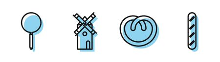 Ustaw linię precel, patelnię, wiatrak i francuską bagietkę chleba ikona. Wektor Ilustracje wektorowe
