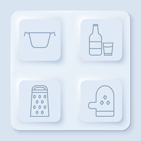 Set line Cooking pot , Glass bottle with milk and glass , Grater and Oven glove . White square button. Vector
