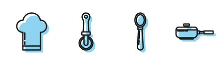 Set line Spoon , Chef hat , Pizza knife and Frying pan icon. Vector Illustration