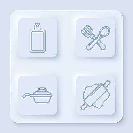 Set line Cutting board , Crossed fork and spoon , Frying pan and Rolling pin . White square button. Vector