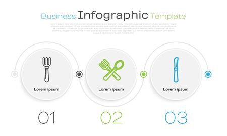 Set line Fork , Crossed fork and spoon and Knife . Business infographic template. Vector