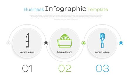 Set line Knife , Citrus fruit juicer and Spatula . Business infographic template. Vector