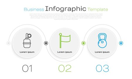 Set line Hand grenade , Flag and Kettlebell . Business infographic template. Vector
