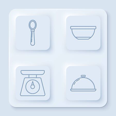 Set line Spoon , Bowl , Scales and Covered with a tray of food . White square button. Vector 矢量图像