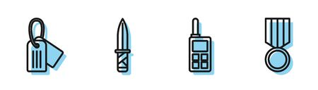 Set line Walkie talkie , Military dog tag , Military knife and Military reward medal icon. Vector