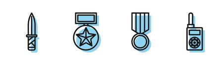 Set line Military reward medal , Military knife , Military reward medal and Walkie talkie icon. Vector