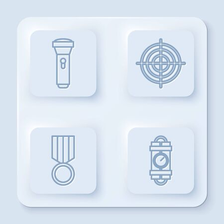 Set line Flashlight , Target sport for shooting competition, Military reward medal and Detonate dynamite bomb stick and timer clock. White square button. Vector Vettoriali