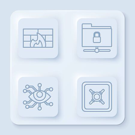 Set line Firewall, security wall , FTP folder and lock , Eye scan and Safe . White square button. Vector