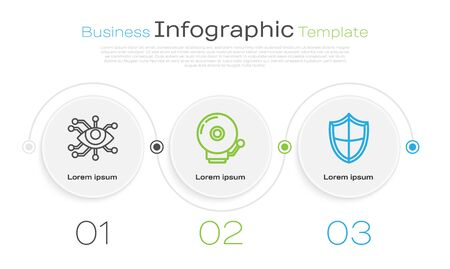 Set line Eye scan , Ringing alarm bell and Shield . Business infographic template. Vector