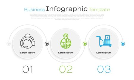 Set line Support operator in touch, Placeholder on map paper in perspective and Electric hand truck and boxes . Business infographic template. Vector