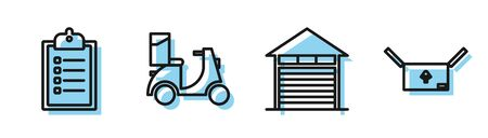 Set line Closed warehouse , Verification of delivery list clipboard , Scooter delivery and Cardboard box with traffic symbol icon. Vector
